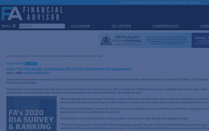 In The News - After The Pandemic, Employees Want New Retirement Arrangements